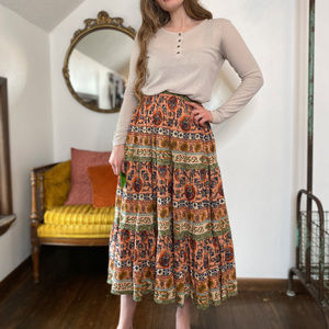 Vintage Boho Ethnic Tribal Print Midi Skirt